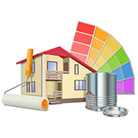 Exterior Painters - Icon of House with Paint Samples Can and Brush