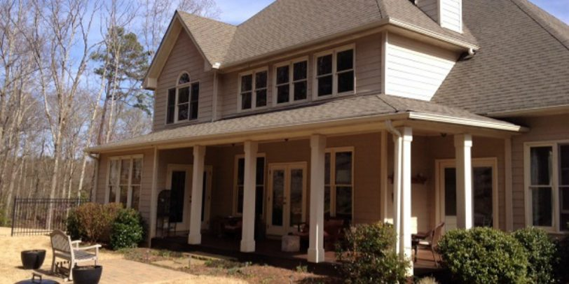 Exterior Painting Color Brown - Kimberly Painting - Cumming, GA - Two Story with Covered Porch