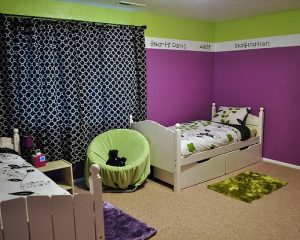Interior Painting Color Schemes - Cummings, GA - Bedroom with Green and Purple Stripes