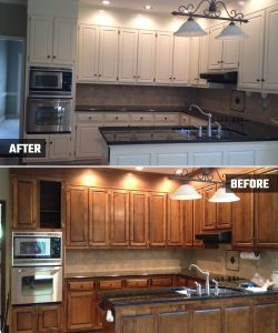 Acworth, GA Ranch Style Home - Kitchen Cabinets Before and After - Kimberly Painting