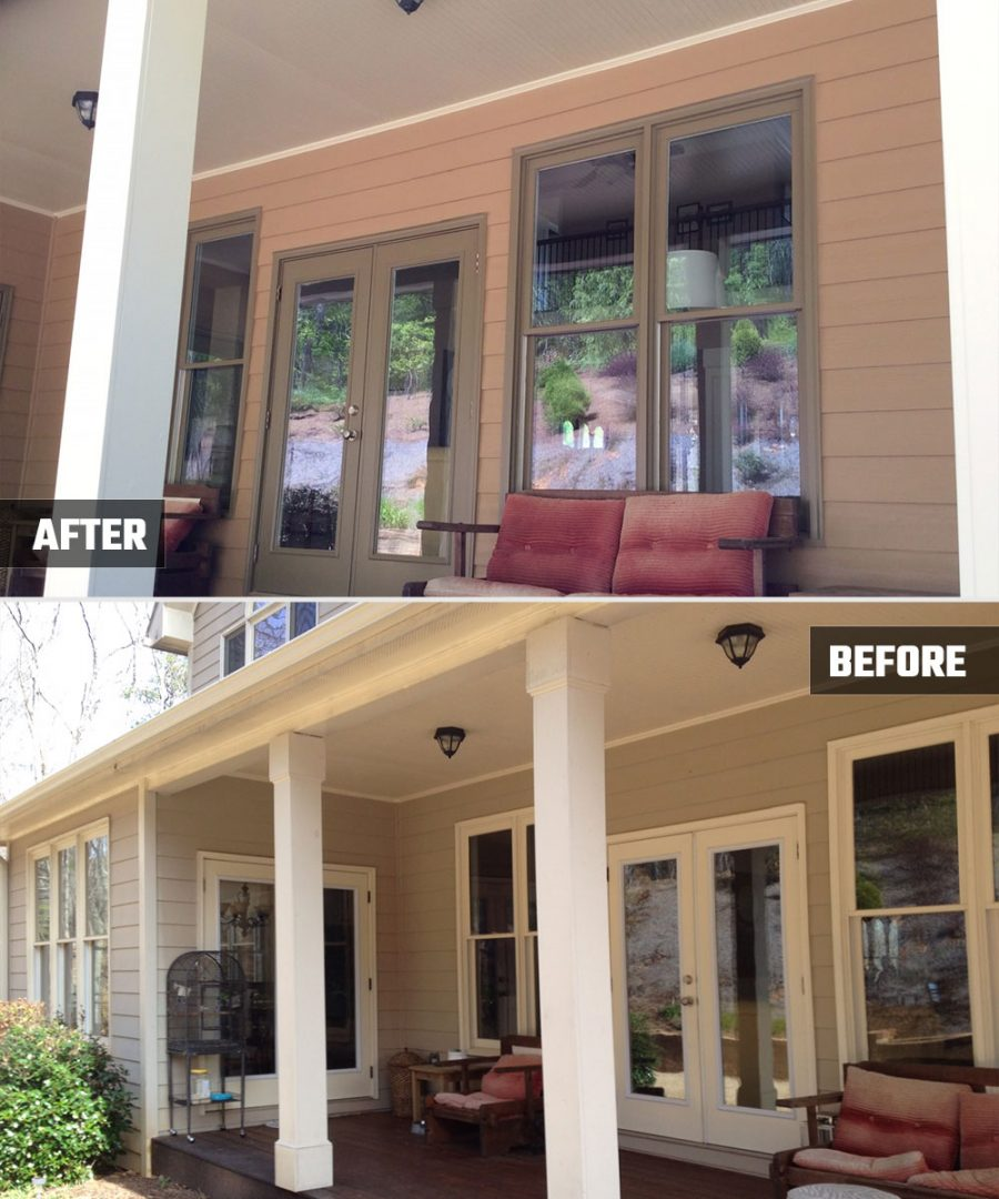 Exterior Painting - Porch Before and After