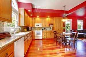 Natural Oak Kitchen Cabinet Refinishing with Red Walls - Cumming, GA - Kimberly Painting