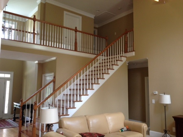 Stairway Walls Taupe with White Trim Interior Painting Project - Cumming, GA - Kimberly Painting