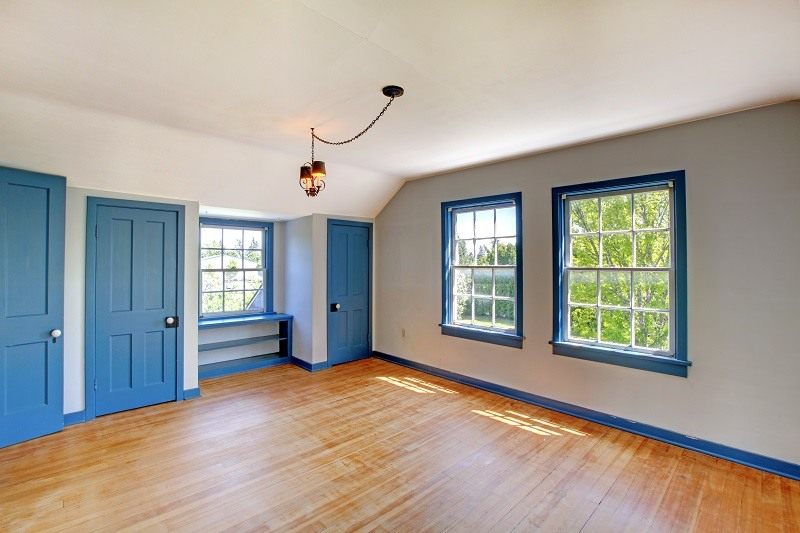 Interior Painting - White Walls - Blue Trim and Doors - Kimberly Painting, Cumming GA