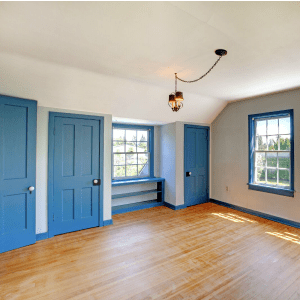 Interior Wall Painting, Trim Painting - Kimberly Painting Contractors - Cumming, GA - White Walls and Colonial Blue Doors