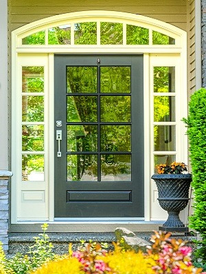 Black Door White Trim Beige Exterior Paint Color Scheme - Cumming GA - Kimberly Painting 300x400