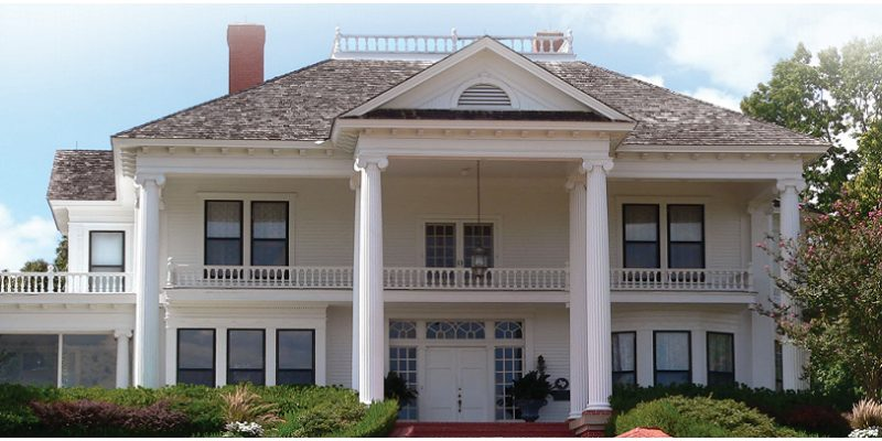 Exterior Painting Techniques - Kimberly Painting - Suwanee, GA - White Two Story House Pillars Balcony
