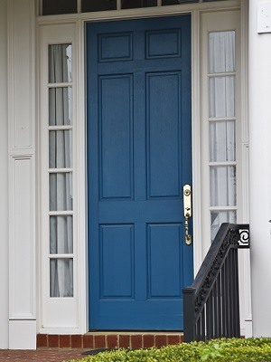 Front Door Paint Colors - Blue Door, White Trim - Exterior House Painters - Cumming, GA - Kimberly Painting