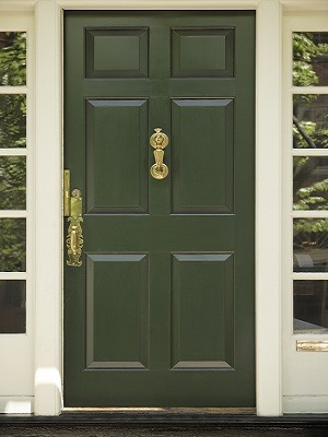 Green Front Door Paint Color - White Trim - Cumming GA - Kimberly Painting 300x400