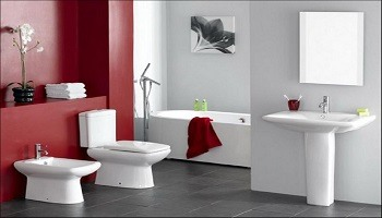 Gray and Red Bathroom Colors - Cumming GA - Kimberly Interior Painting 350x200