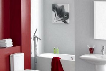 Gray and Red Bathroom Colors - Cumming GA - Kimberly Interior Painting 812x400