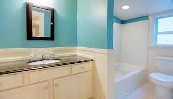 Teal Cream White Bathroom Color Ideas - Cumming GA - Kimberly Interior Painting