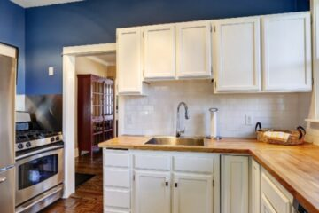 Kitchen Cabinets - Kimberly Painting - Cumming, GA - White Cabinets Blue Walls