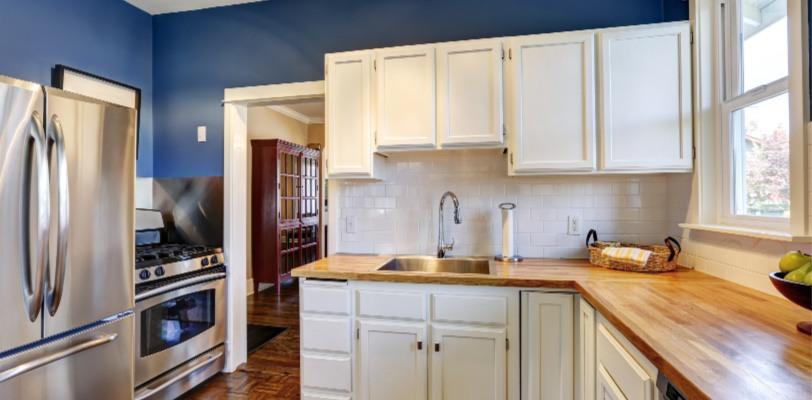 Kitchen Cabinets - Kimberly Painting - Cumming, GA - White Cabinets Blue Walls