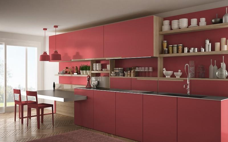 Red Kitchen Cabinets - Cumming GA