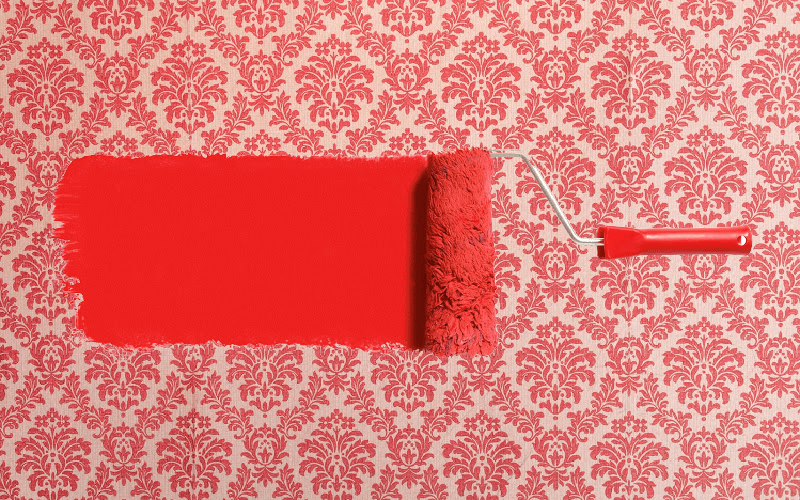 Painting Over Wallpaper - Red paint and roller - Kimberly Painting