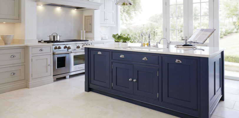 White Gray Kitchen - Dark Blue Island