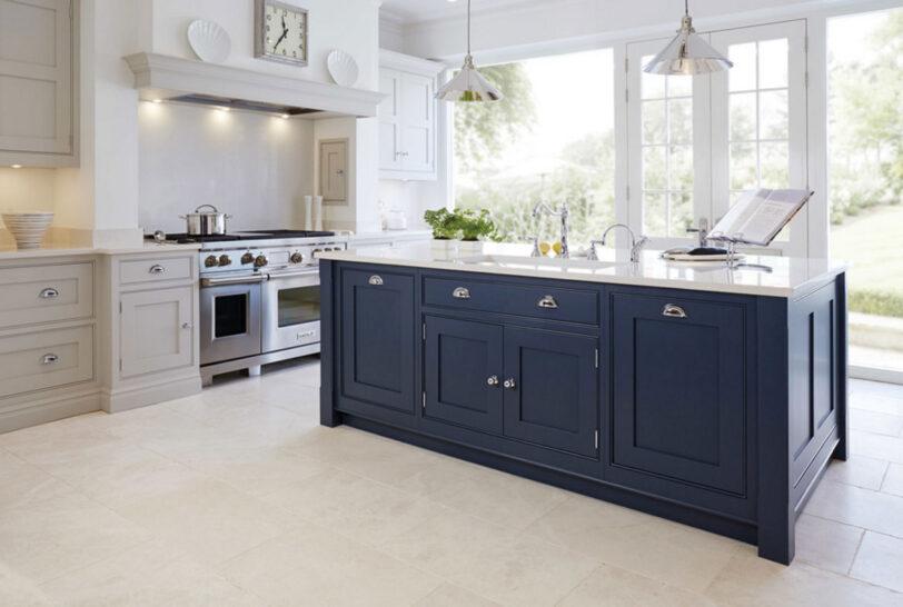 White Gray Kitchen - Dark Blue Island